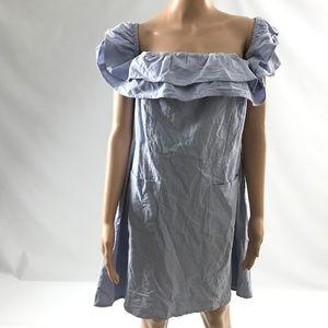 Asos Women's Shift Dress 100% Cotton Blue Size 12